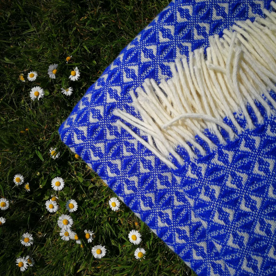 Retro Weave Royal Blue Wool Blanket / Throw